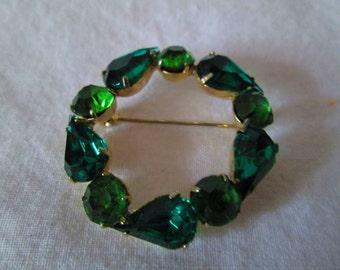 Beautiful Gold tone with Various Green rhinestones circle pin brooch encased back