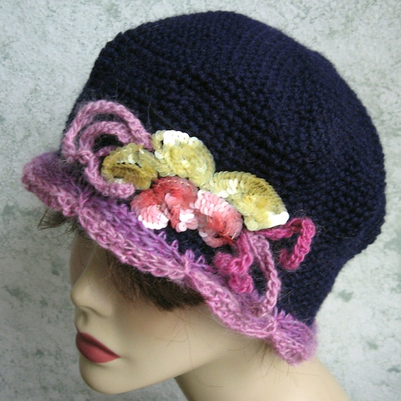 Womens Crochet Hat Pattern Cloche Navy Colored Hat With Contrasting