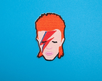 David Bowie Inspired Patch - Made with Vegan Iron-On Adhesive - Embroidery Sewing DIY Cute 80s Rock n Roll Glam Aladdin Sane Ziggy Stardust