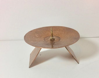 Chunky Mid-Century Hammered Copper Candle Stand