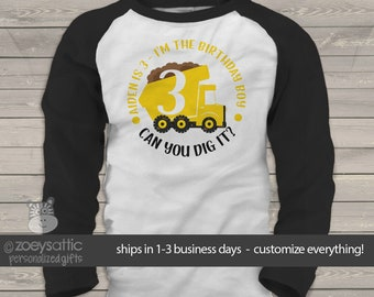 Dump truck birthday shirt - birthday boy personalized any age can you dig it dump truck raglan Tshirt MBD-042-r