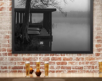 Louisiana Lake Photography, Boathouse, Foggy Morning, Nature Photography, Black and White Fine Art Photograph,Water Reflection, Gift for Him