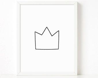 Crown poster, crown print, nursery printable wall art, Scandinavian print, nursery decor, nursery art, kids poster