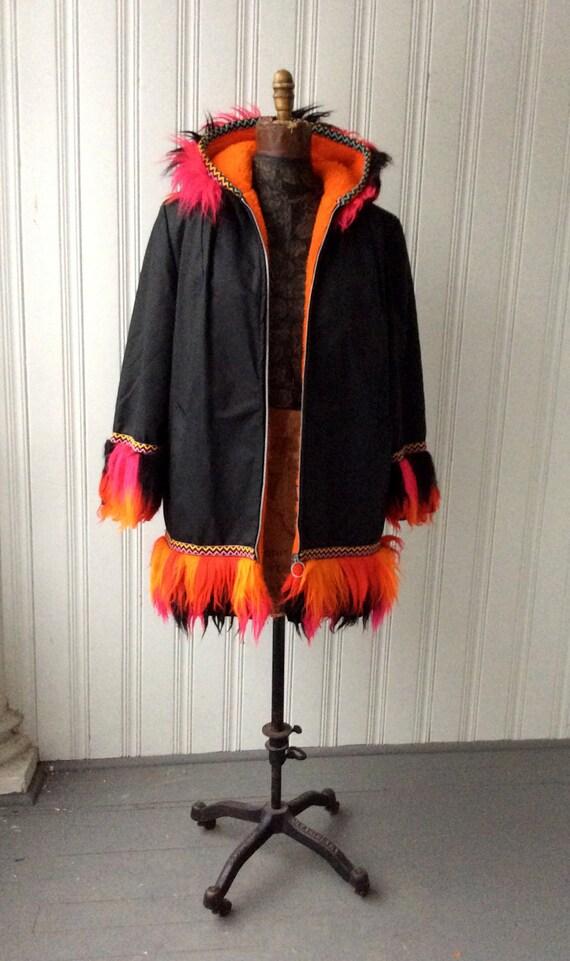 1970s Parka Psychedelic Arctic Fun Fur Day Glo Trim Hooded KLIX Zippered Black nylon Mid Length Vegan parka Coat eXzFx