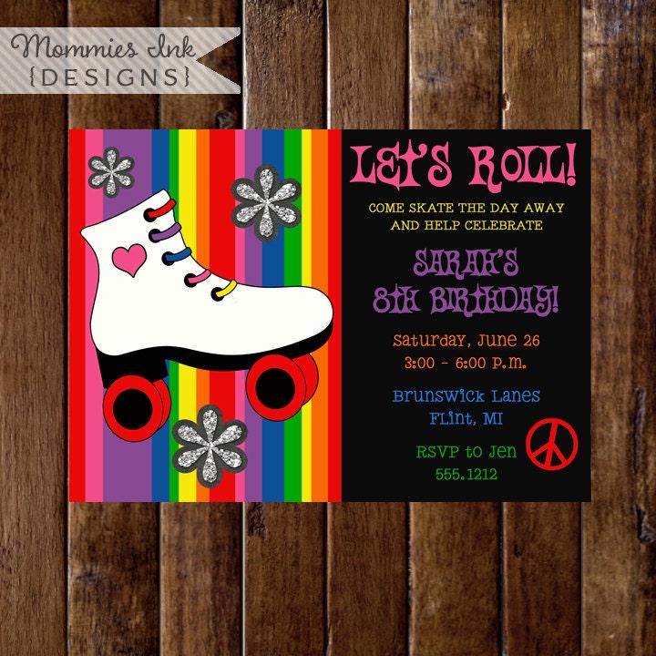 Roller Skate Birthday Invitation Rainbow Invitation Roller