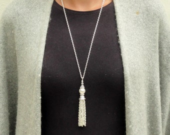 Pearl Tassel Necklace, Silver Tassel Necklace, White Pearl Tassel Necklace, Silver Tassel Pendant, Beaded Tassel, Long Tassel Pendant