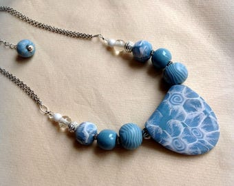 Necklace, polymer clay, blue, white, Oval Pendant