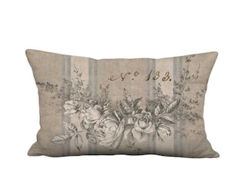 Garland of Roses Rustic Grain Sack Style French Country Farmhouse Pillow Cover - 12x18 12x20 12x24 14x20 14x22 14x26 16x20 16x24 16x26 Inch