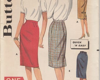 1960's Sewing Pattern Butterick 2151 Misses sheath skirt waist 26