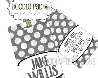 Personalized Kids Luggage Tag, Polka Dot Diaper Bag Tag