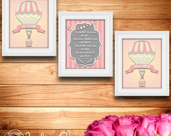 Printable wall art decor: Dr Seuss-The more that you read quote plus custom first last name hot air balloon (Custom digital download - JPG)