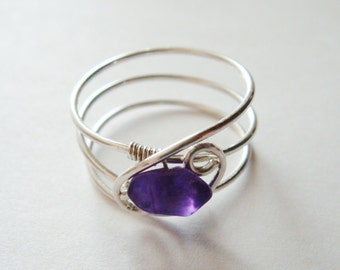 Amethyst Ring  Amethyst Gold Ring  Amethyst Silver Ring  Amethyst Rose Gold Ring  February Birthstone