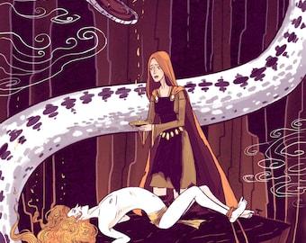 Sigyn and Loki 12x18 inch original mythology poster