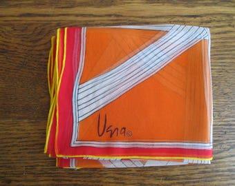 Vintage Vera Neumann Orange Yellow Red Sheer Scarf
