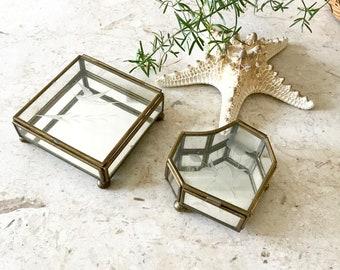 Tiny Vintage Terrarium / Brass and Glass trinket box / Etched Bird