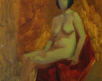 original figure painting /  11x14 painting / figurative wall art