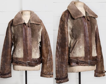 1930s Grizzly Jacket Warmster Sportswear Grommet Zip Motorcycle Leather Grizzly Jacket