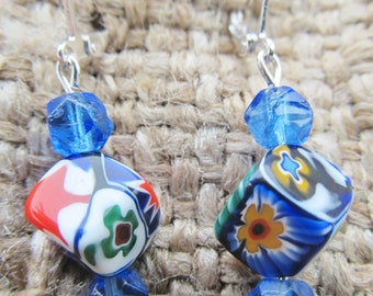 Handmade Mosaic Blue And Red Flowered Cube And Art Deco Blue Bead Pierced Earrings, Handmade By Susan Every OOAK