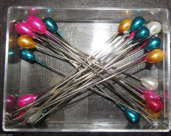 Colour Headed Extra Long Pins - Assorted Colours - 80mm long - 25 per box