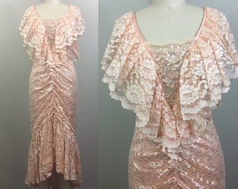 Vintage 80s Pink Lace Party Prom Wedding Dress Body Con Ruffle Mermaid S