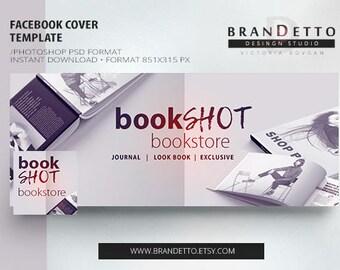 Facebook Cover Template, Facebook Template, Facebook Cover Shop book, Photoshop Template, PSD, book Template - Brandetto