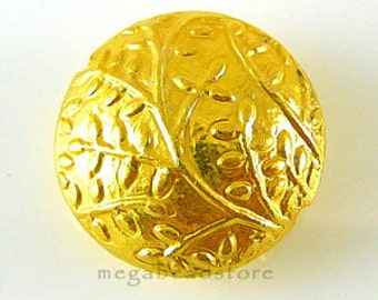 18mm Lentil VERMEIL Gold  Beads Embosed Leaves branches B115V - 1 pc