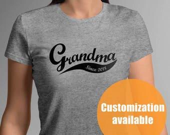 New grandma tshirt, grandma Gift, Mothers Day Gifts, Christmas Gifts, since 2018, grandmaTo Be, personalized tshirt, pregnant,newborn baby