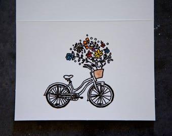 Bicycle flower basket greeting card
