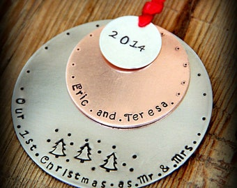 Our First Christmas Ornament - Mr and Mrs Ornament - First Christmas Ornament - First Christmas as Mr and Mrs - Wedding Gift For Couples