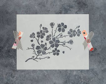Cherry Blossom Stencil - Reusable DIY Craft Stencils of a Cherry Blossom Tree Branch with Flowers