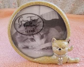 "New Round Green Tree Gallery Cat Frame Jeweled - 4.5"" Diameter"
