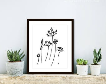 Wild Flowers Art Print - Minimalist Black and White Flower Art - Simple Modern Floral Art - Rustic Decor