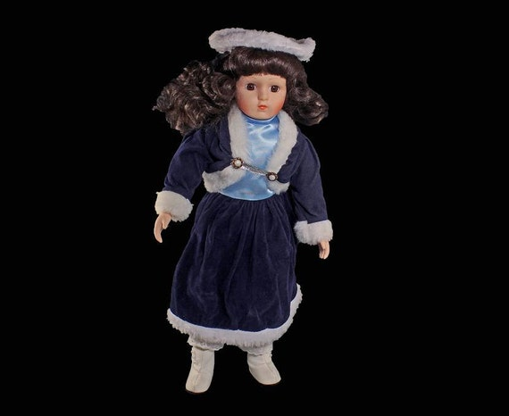 Porcelain Doll, Collectible Doll, Winter Style, Blue Velvet Dressed, 16 Inch, Display Doll, White Faux Fur Trim