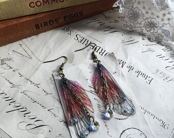 """NEW Rather pretty Small  """"Autumnal rainbow Faerie wing earrings"""""""