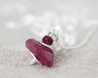 Silver Ruby Necklace - Genuine Ruby Necklace - Red Stone Necklace - 40th Anniversary Gift -  Rough Ruby Pendant - July Birthstone Gift