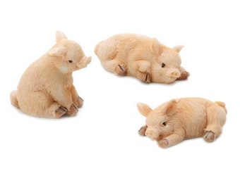 Miniature Pigs Figures ~ Fairy Garden Animals ~ Shadow Box Display Piglets ~ Set of 3