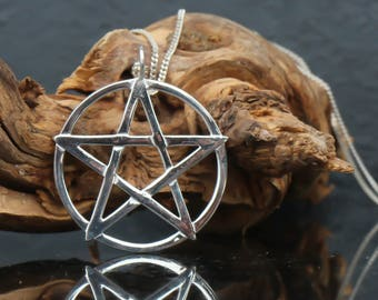 Silver pentacle necklace, pentacle pendant, silver pentagram necklace, pentagram pendant, pentacle jewelry, pentagram charm, wiccan jewelry