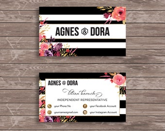 Agnes and Dora Business Cards, printable customised business cards, Agnes and Dora Representative Marketing, Watercolor Flowers