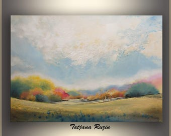 Autumn Landscape Painting, Large Wall Art, Landscape Art, ORIGINAL acrylic painting, Large Landscape Painting by Tatjana Ruzin,Made to order