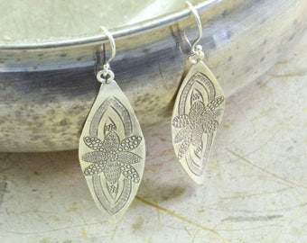 Wavy Flower Marquise Earrings // Sterling Silver Earrings // Sterling Silver // Bohemian Jewelry // Village Silversmith