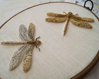 Embroidered gold thread dragonfly,hand embroidery,embroidered bug,insect,embroidery jewelry,colorful bug,goldwork,spun gold embroidery