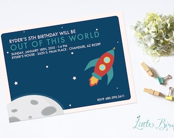 Rocket Ship to Outer Space Birthday Invitation