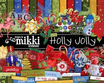Digital Scrapbook Kit- Christmas themed Holly Jolly Mega Kit