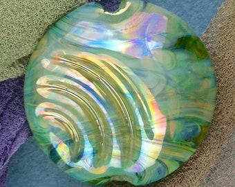 "Handmade Lampwork Focal Bead ""Spirlentil II"" SRA Glass Bead Lentil ~ OOAK Textural Organic Silver Glass Lustre ~ Sea Tones"