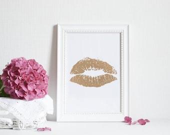 Lipstick Kiss - Foil Print - Handmade - Prints279