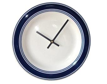Navy Blue Modern Wall Clock / Plate Clock / Housewarming Gift / Kitchen Clock / Blue and White Kitchen Decor / Minimalist Wall Clock / 2234