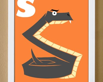 alphabet letter S, snake, custom colors, animal alphabet, letter print, nursery alphabet, letter art, 4X6, 5X7, 8x10