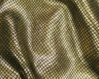 """Leather 8""""x10"""" GOLD Metallic Fish Scales on Black Cowhide 2.5-3oz / 1-1.2mm PeggySueAlso™ E3400-01"""