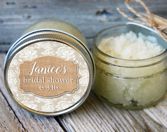 Set of 12- 4oz - Sugar Scrub Bridal Shower Favor - Burlap and Lace Label-ANY COLOR / Rustic Shower Favors / Mason Jar Favor // Bridal Favor