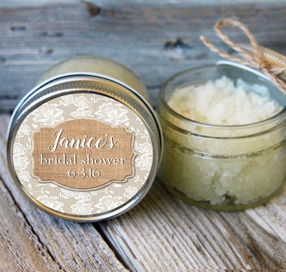 Set of 12- 4oz - Sugar Scrub Bridal Shower Favor - Burlap and Lace Label-ANY COLOR / Rustic Shower Favors / Mason Jar Favor // Bridal Favor
